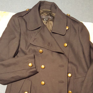 GENTLY USED BLUE FRENCH CONNECTION MILITARY TRENCH